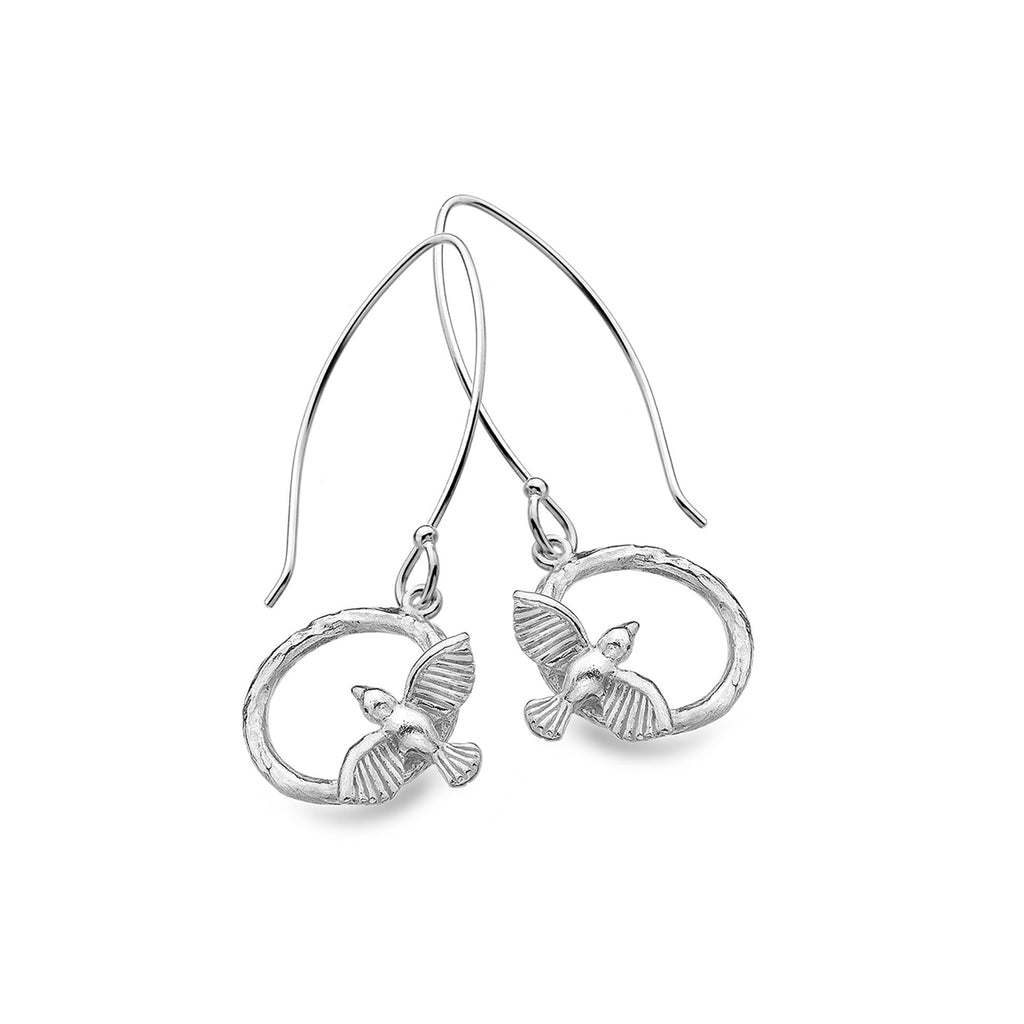 Sterling Silver Bird & Circle Drop Earrings