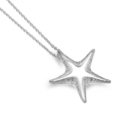 Sterling Silver Textured Starfish Outline Pendant Necklace