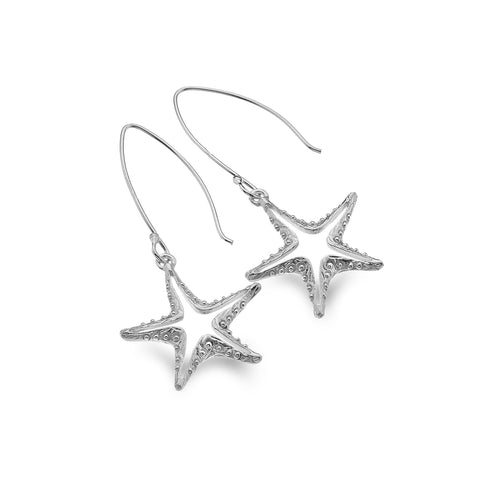 Sterling Silver Textured Starfish Outline Drop Earrings