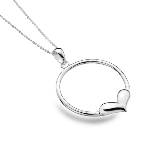 Sterling Silver Large Circle with Heart Pendant Necklace
