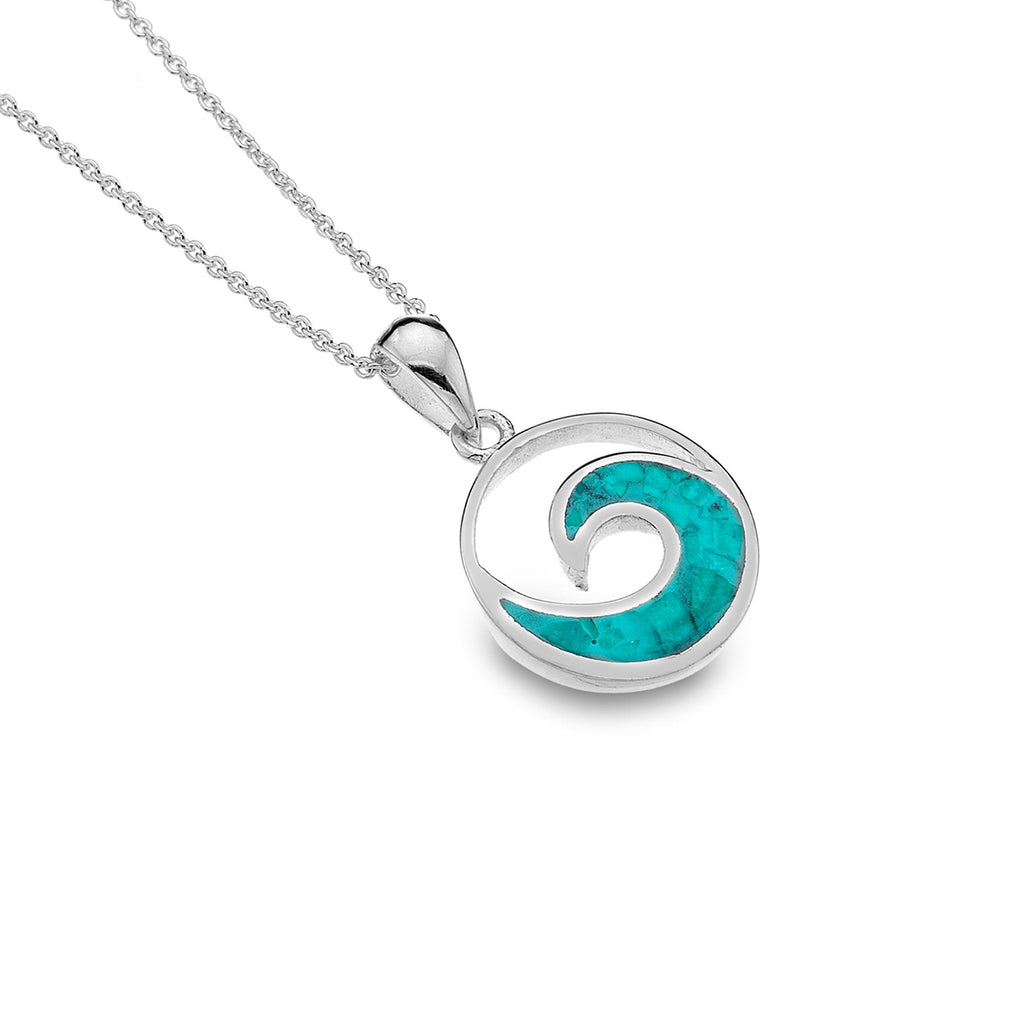 Sterling Silver & Turquoise Wave Pendant Necklace