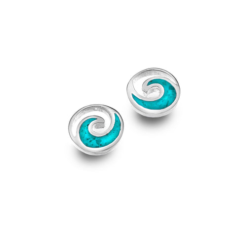 Sterling Silver & Turquoise Wave Stud Earrings