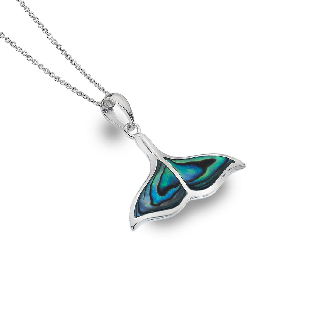 Sterling Silver & Paua Shell Whale Tale Pendant Necklace