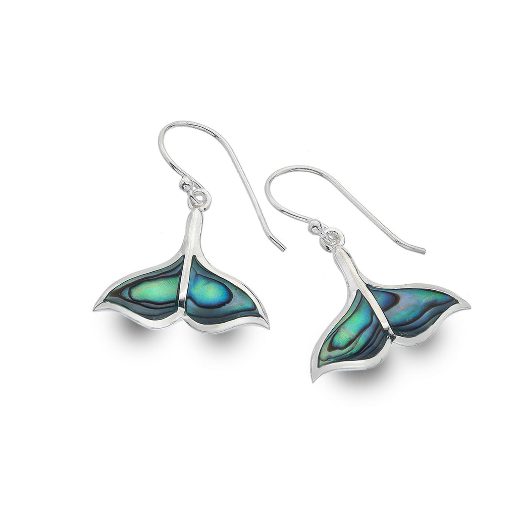 Sterling Silver & Paua Shell Whale Tale Drop Earrings