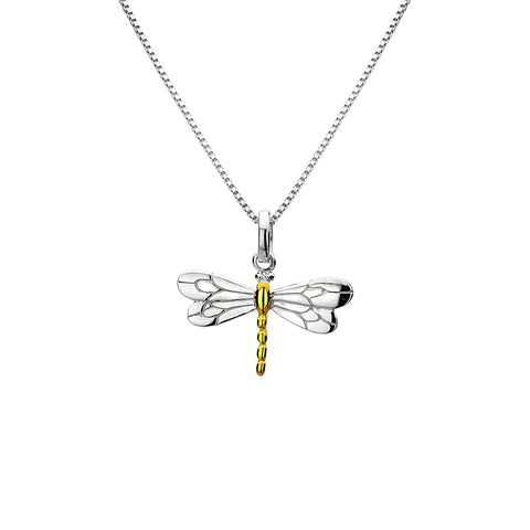 Sterling Silver & Yellow Gold Plated Dragonfly Pendant Necklace