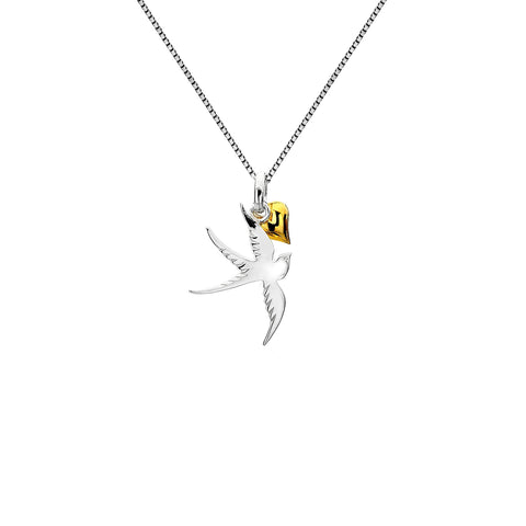 Sterling Silver & Yellow Gold Plated Swallow & Heart Pendant Necklace