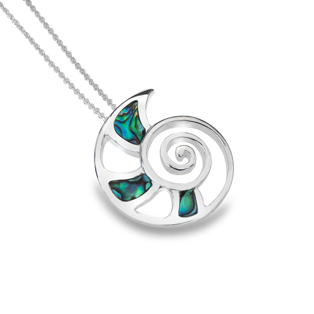 Sterling Silver & Paua Shell Nautilus Shell Pendant Necklace