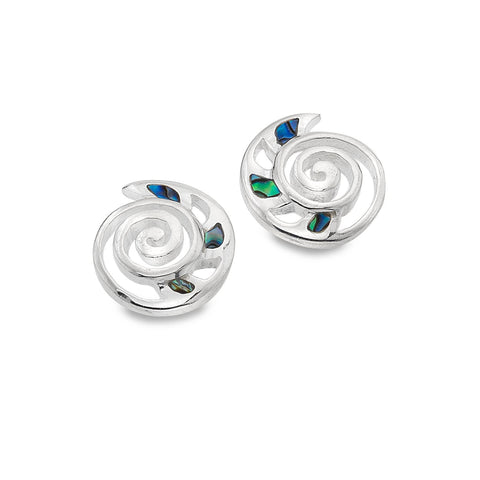 Sterling Silver & Paua Shell Nautilus Shell Stud Earrings