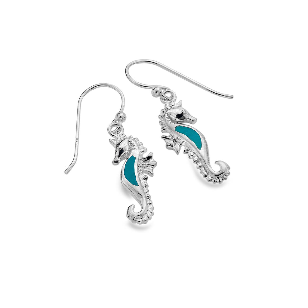 Sterling Silver & Turquoise Seahorse Drop Earrings