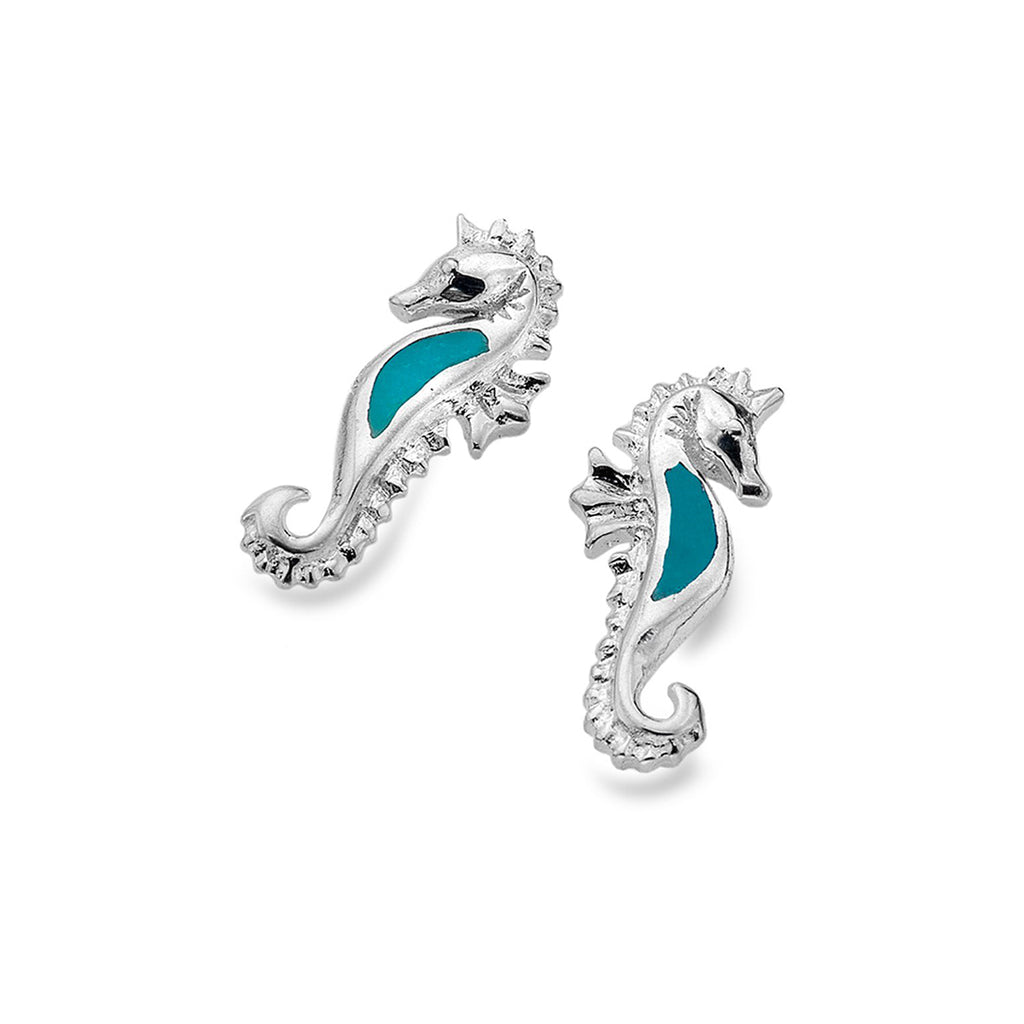 Sterling Silver & Turquoise Seahorse Stud Earrings