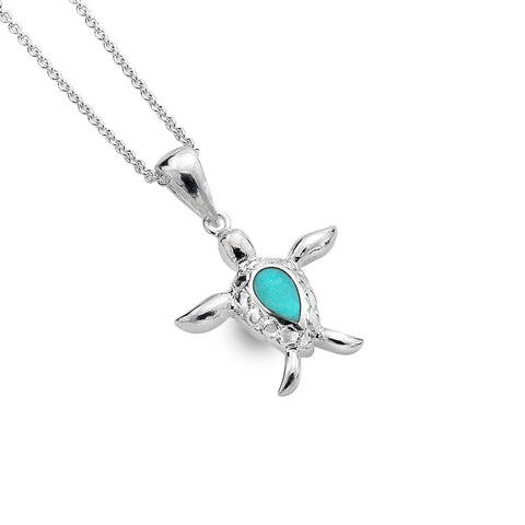 Sterling Silver & Turquoise Turtle Pendant Necklace