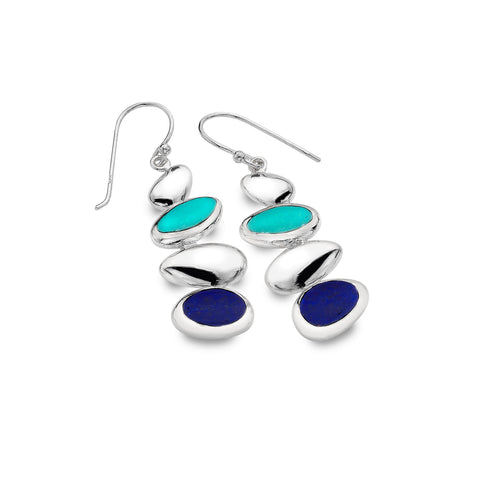 Sterling Silver Lapis & Turquoise Pebble Drop Earrings
