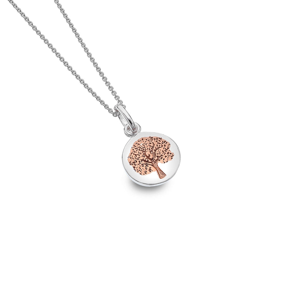 Sterling Silver & Rose Gold Plated Tree of Life Pendant Necklace