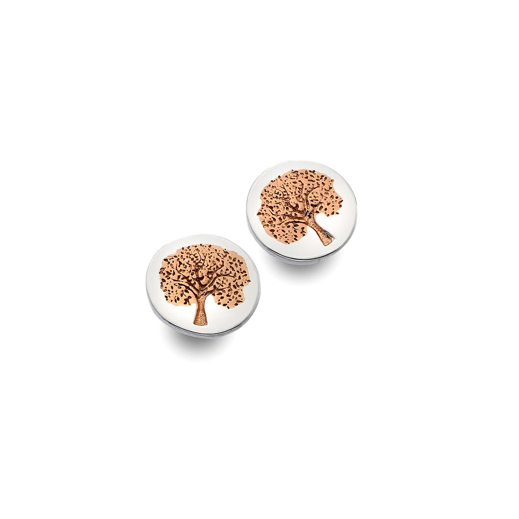Sterling Silver & Rose Gold Plated Tree of Life Stud Earrings