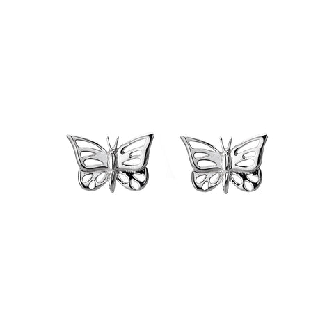 Sterling Silver Butterfly Stencil Stud Earrings