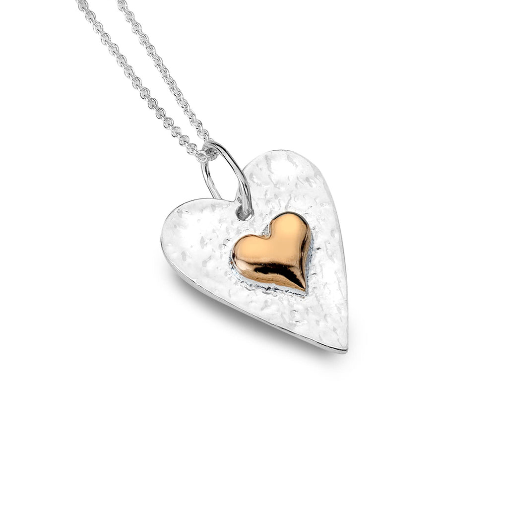 Sterling Silver & Rose Gold Plated Textured Heart Pendant Necklace