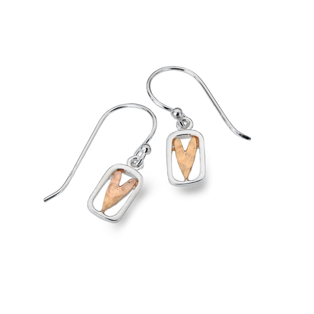 Sterling Silver & Rose Gold Plated Small Heart Drop Earrings