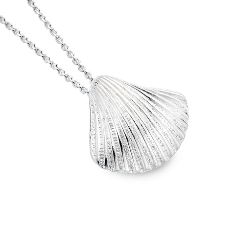 Sterling Silver Chunky Scallop Pendant Necklace