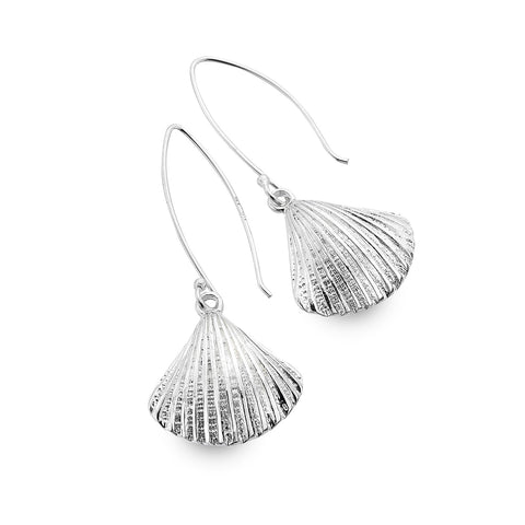 Sterling Silver Chunky Scallop Drop Earrings