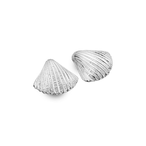 Sterling Silver Chunky Scallop Stud Earrings