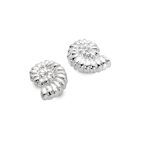 Sterling Silver Ammonite Stud Earrings