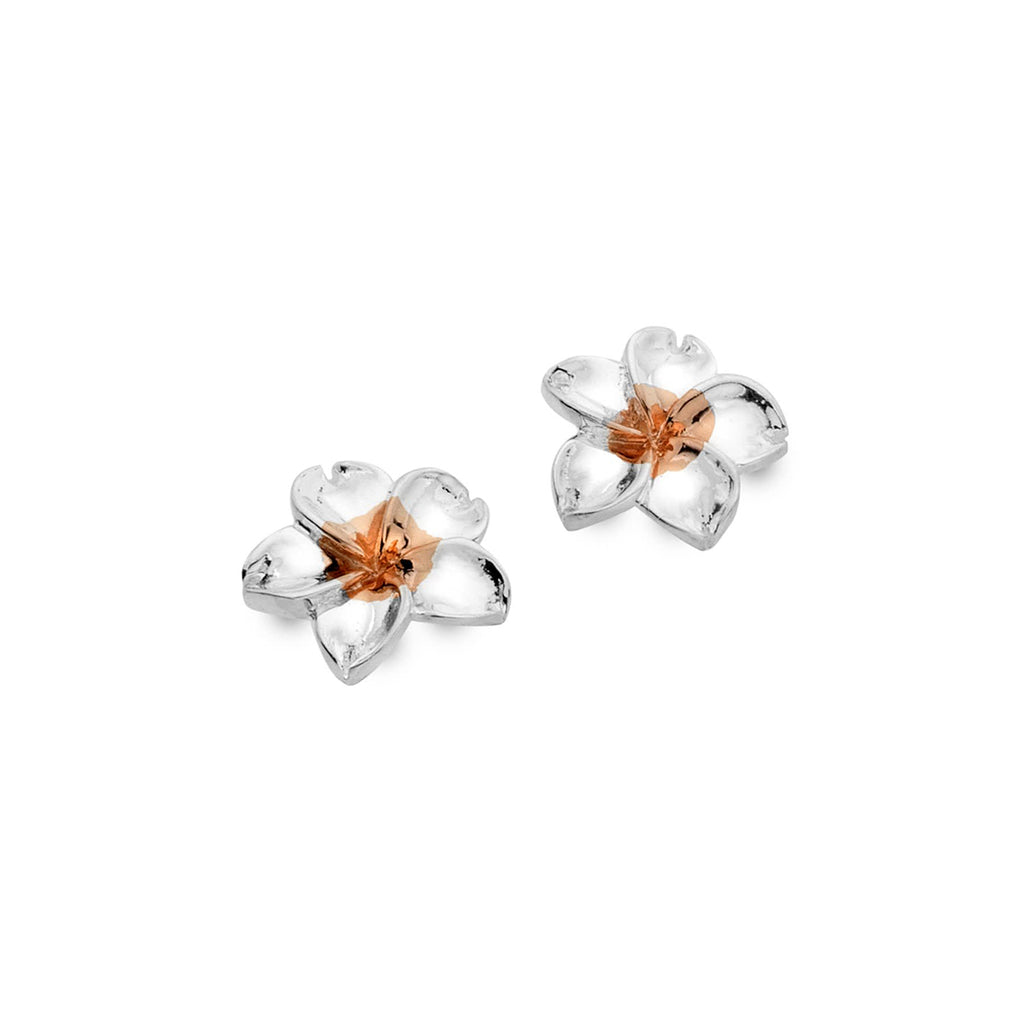 Sterling Silver & Rose Gold Plated Flower Stud Earrings