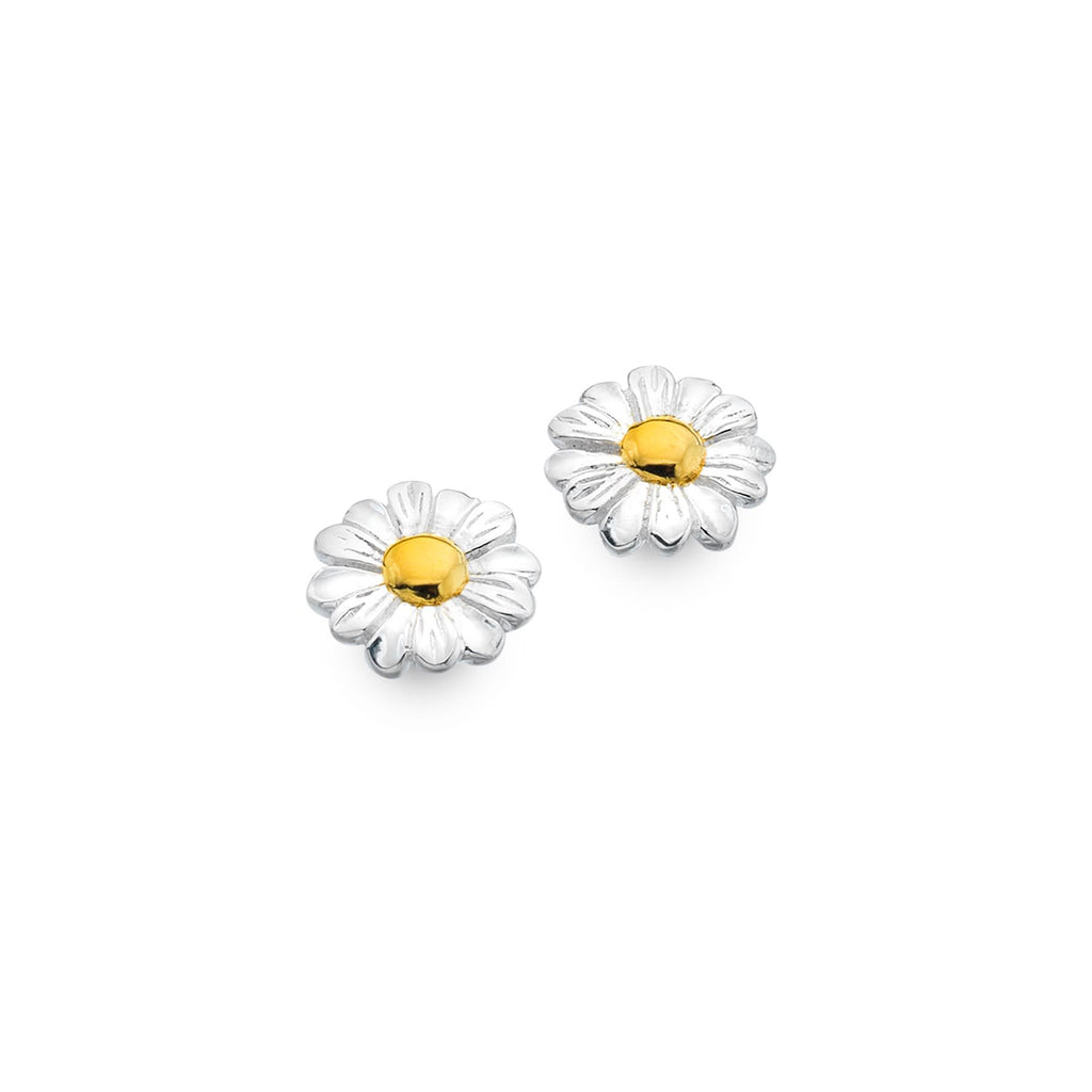 Sterling Silver & Gold Plated Daisy Stud Earrings