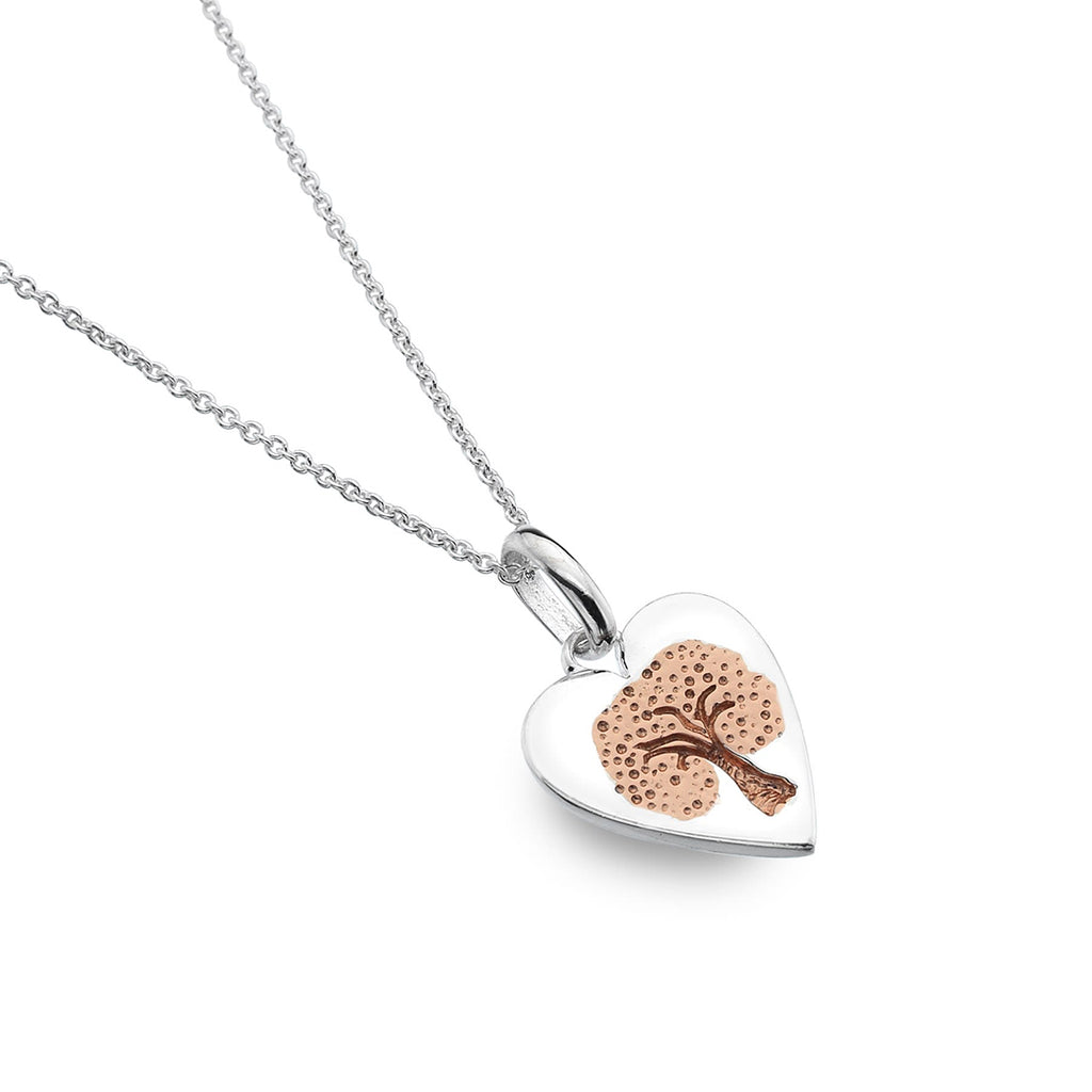 Sterling Silver & Rose Gold Plated Heart Tree of Life Pendant Necklace