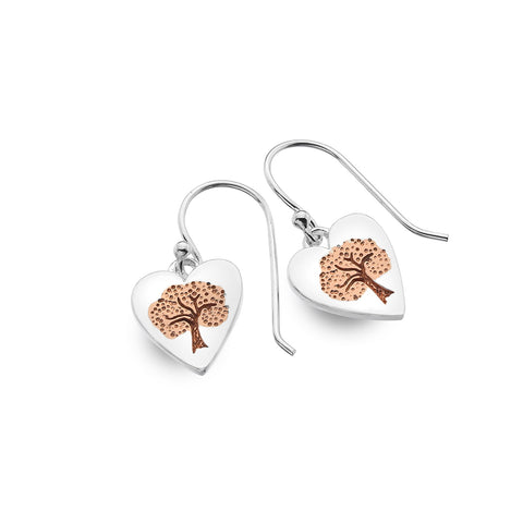 Sterling Silver & Rose Gold Plated Heart Tree of Life Drop Earrings