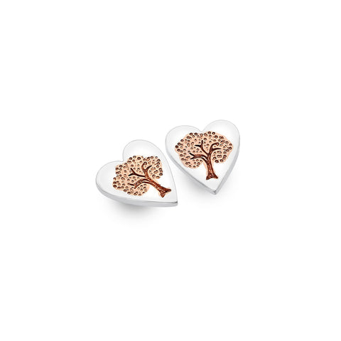 Sterling Silver & Rose Gold Plated Heart Tree of Life Stud Earrings