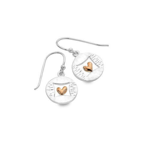 Sterling Silver & Rose Gold Plated Framed Heart Drop Earrings