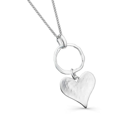 Sterling Silver Circle & Textured Heart Pendant Necklace