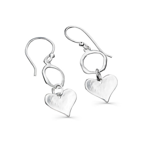 Sterling Silver Circle & Textured Heart Drop Earrings