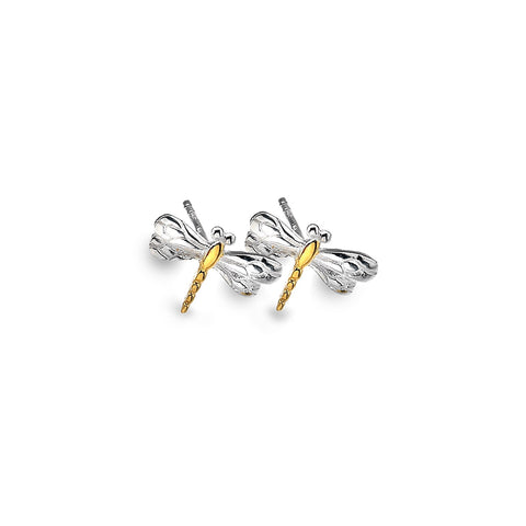 Sterling Silver & Yellow Gold Plated Small Dragonfly Stud Earrings