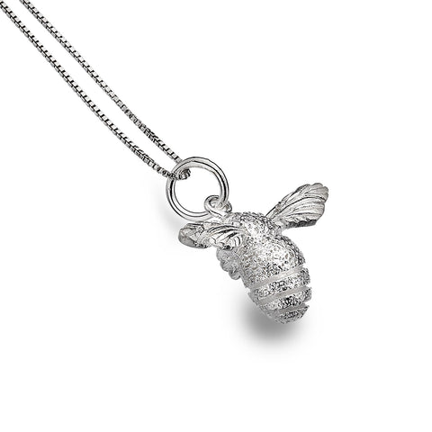 Sterling Silver Textured Bumble Bee Pendant Necklace