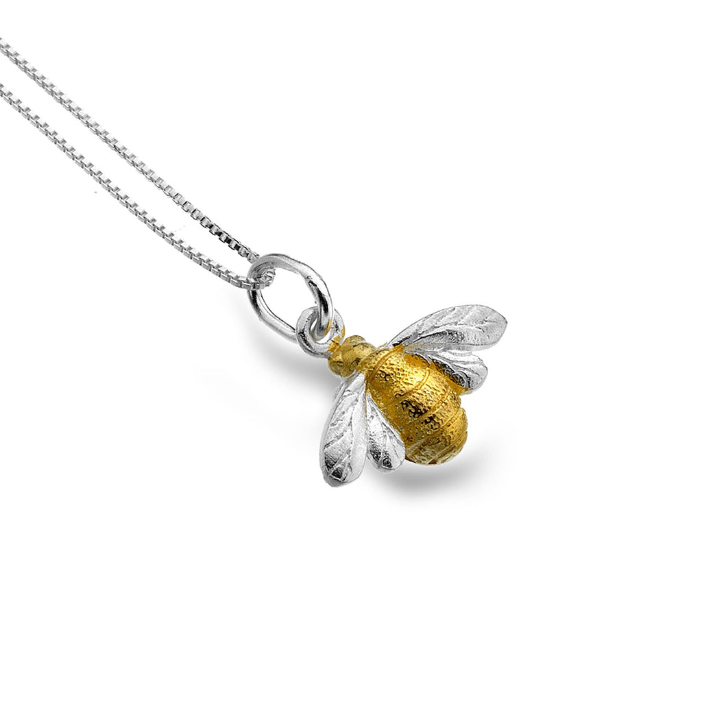 Sterling Silver & Gold Plated Bumble Bee Pendant Necklace