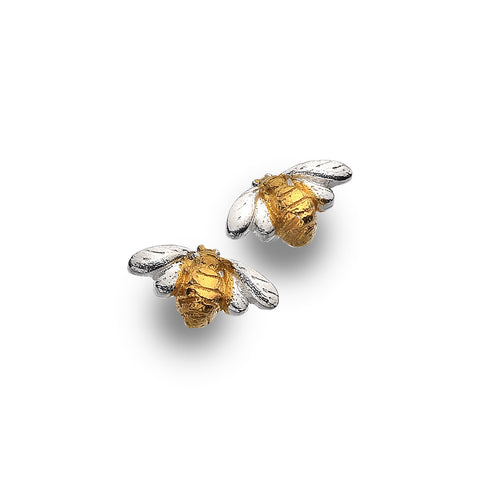 Sterling Silver & Gold Plated Bumble Bee Stud Earrings