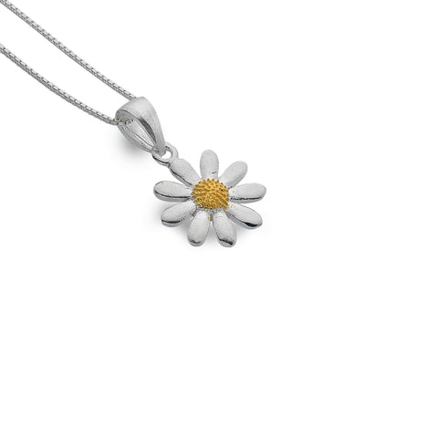 Sterling Silver & Yellow Gold Plated Daisy Pendant Necklace