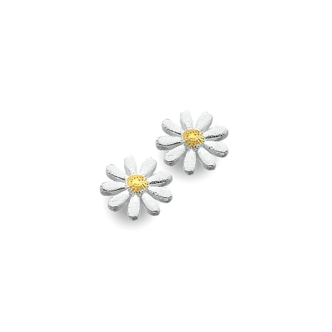 Sterling Silver & Yellow Gold Plated Daisy Stud Earrings