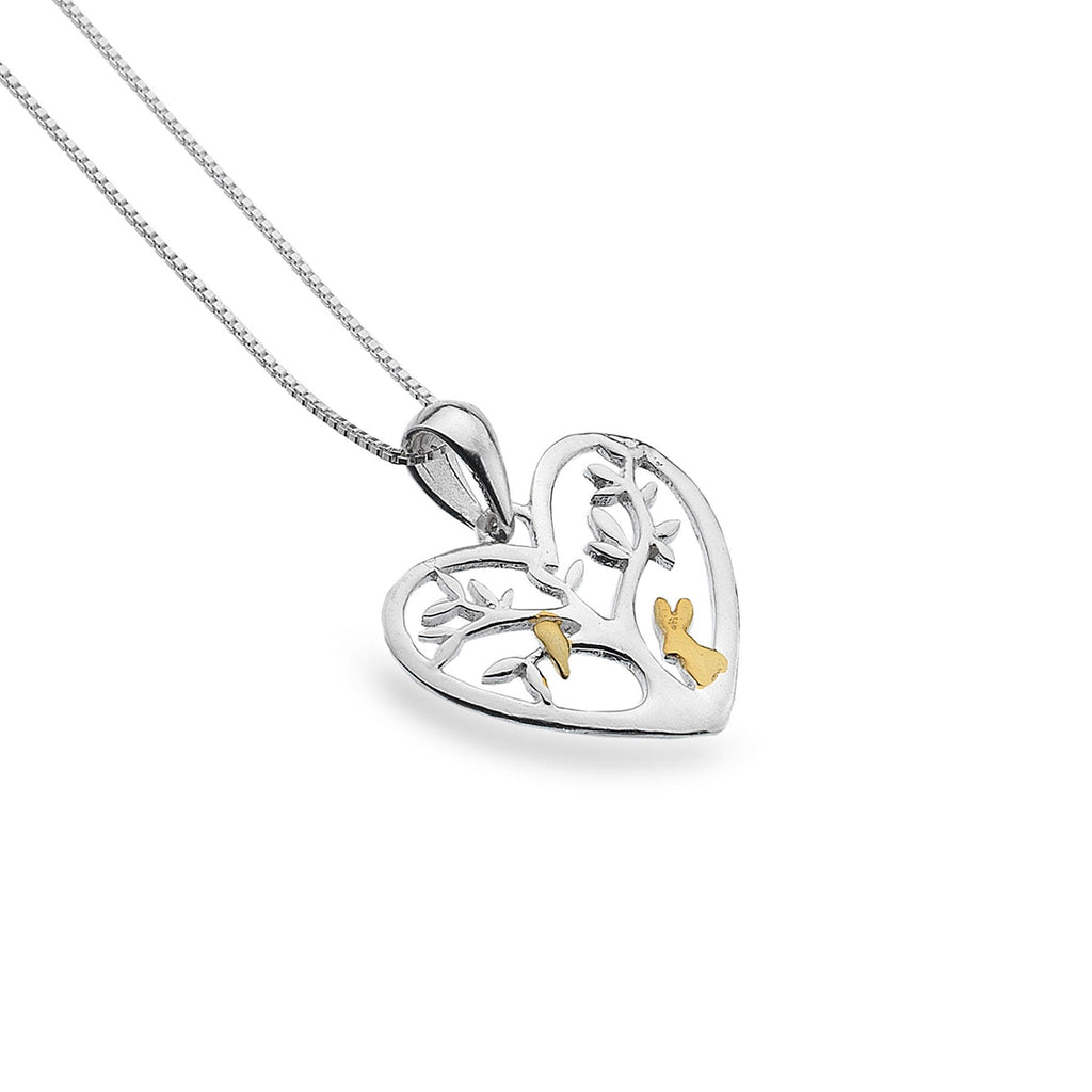 Sterling Silver & Gold Plated Heart Tree of Life Pendant Necklace