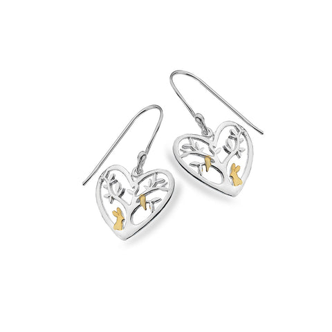 Sterling Silver & Gold Plated Heart Tree of Life Drop Earrings