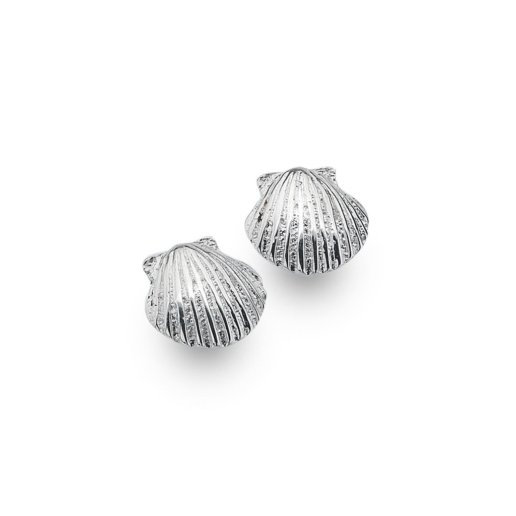 Sterling Silver Scallop Shell Stud Earrings