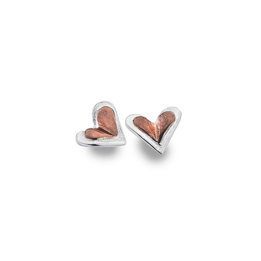 Sterling Silver & Rose Gold Plated Tiny Heart Stud Earrings