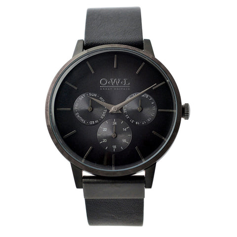 O.W.L Pembrey Collection Gents Black Strap Watch P6SKK