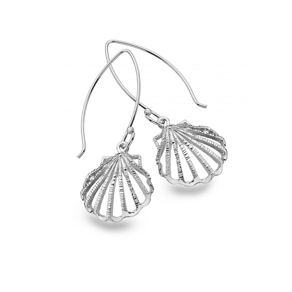 Sterling Silver Large Clam Shell Drop Earrings