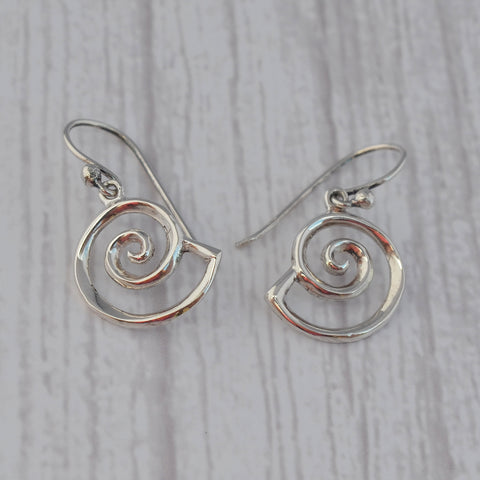 Sterling Silver Nautilus Drop Earrings