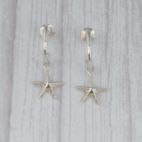 Sterling Silver Starfish Half Hoop Earrings