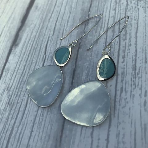 Sterling Silver Large Drop Pebble Earrings