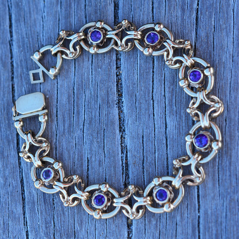 Secondhand 9ct Yellow Gold Amethyst Bracelet