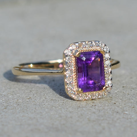 9ct Yellow Gold Amethyst & Diamond Cluster Ring